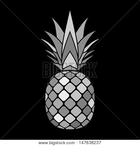 Pineapple mosaic icon. Tropical fruit isolated on white background. Symbol of food sweet exotic and summer vitamin healthy. Nature logo. Flat concept. Design element Vector illustration