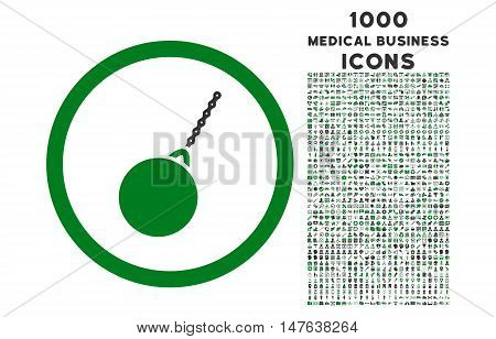 Destruction Hammer rounded vector bicolor icon with 1000 medical business icons. Set style is flat pictograms, green and gray colors, white background.