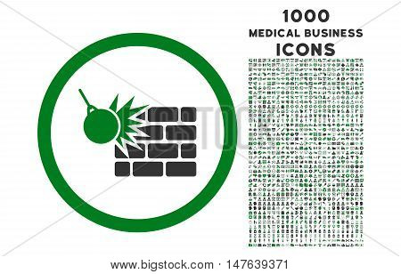 Wall Destruction rounded vector bicolor icon with 1000 medical business icons. Set style is flat pictograms, green and gray colors, white background.