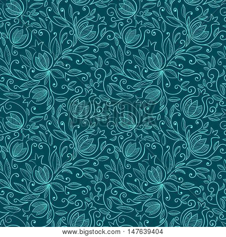 Seamless pattern with pomegranate Rosh Hashanah symbol. Floral pattern with decorative pomegranate fruits and leaves. Vector illustration