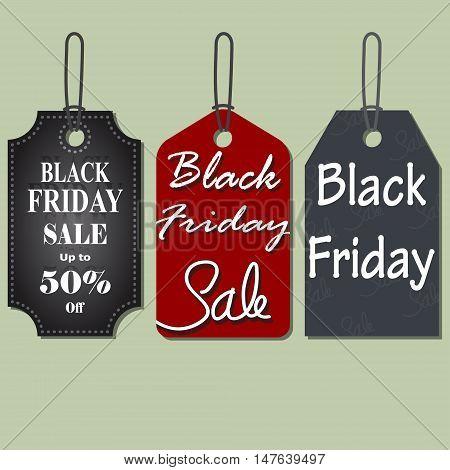 Set of Black Friday Sales Tag vector illustration