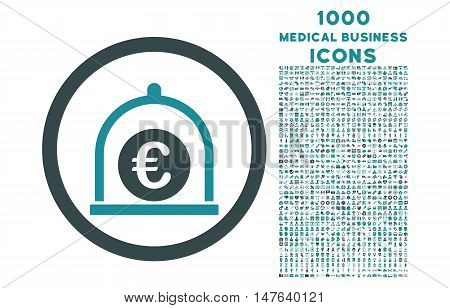 Euro Standard rounded vector bicolor icon with 1000 medical business icons. Set style is flat pictograms, soft blue colors, white background.