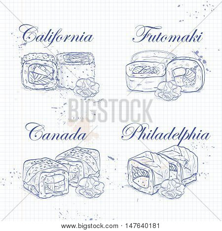 Vector sushi sketch, set of four types of rolls on a notebook page