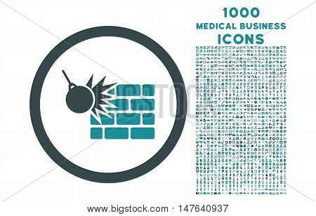 Wall Destruction rounded vector bicolor icon with 1000 medical business icons. Set style is flat pictograms, soft blue colors, white background.