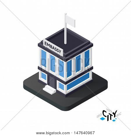 Isometric embassy flat icon isolated on white background, building city infographic element, digital low poly graphic, vector illustration