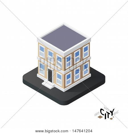 Isometric townhouse flat icon isolated on white background, building city infographic element, digital low poly graphic, vector illustration