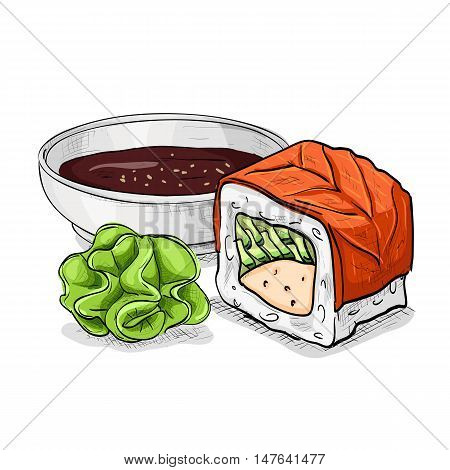Philadelphia Maki-zushi sushi roll. Japanese cuisine, traditional food icon. Vector sushi color sketch