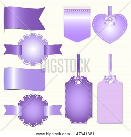 Set of purple badges label and ribbon Greeting card vector tag illustration