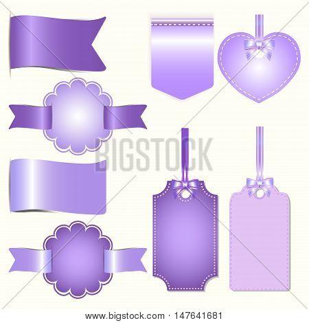 Set of purple badges label and ribbon Greeting card vector tag illustration