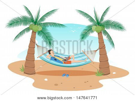 illustrationman chilling using laptop in a hammock on beach under two coconuts treecartoon flat style