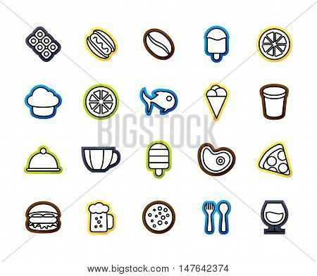 Outline icons thin flat design, modern line stroke style, web and mobile design element, objects and vector illustration icons set 6 - food and drink collection