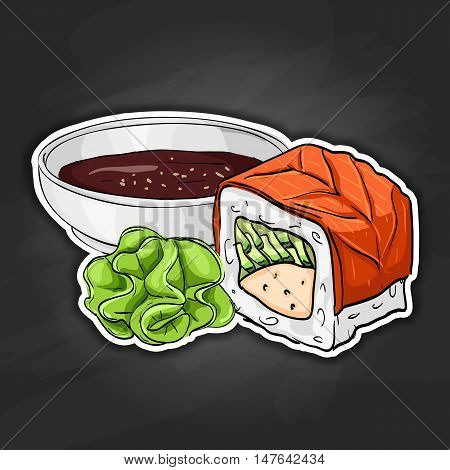 Philadelphia Maki-zushi sushi roll. Japanese cuisine, traditional food icon. Vector sushi color sticker