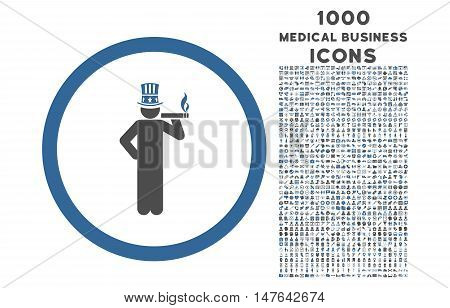 American Capitalist rounded vector bicolor icon with 1000 medical business icons. Set style is flat pictograms, cobalt and gray colors, white background.