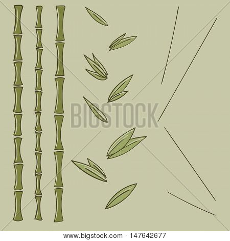 Set bamboo branches and leaf vector illustration
