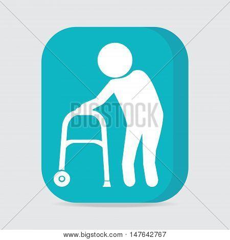 Elderly man and walker symbol button vector illustration