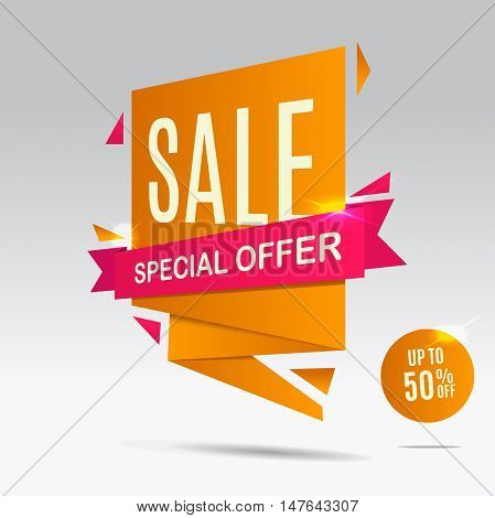 Yellow Sale banner with red ribbon. Sale poster. Special offer banner. Discount background. Vector illustration eps 10