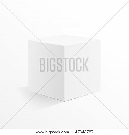 Box blank on a white background. Cube mock up 3d.