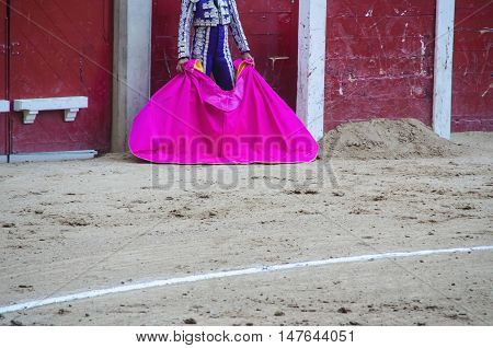 Torero With Capote In Burladero