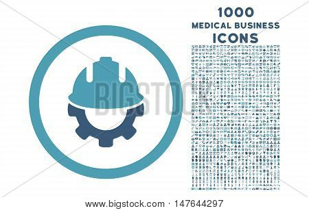 Development rounded vector bicolor icon with 1000 medical business icons. Set style is flat pictograms, cyan and blue colors, white background.