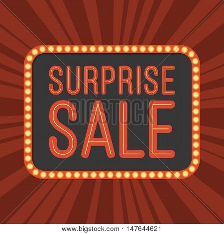 neon text Surprise Sale on retro board with light bulb and light beam background poster for advertising, banner, flat design vector