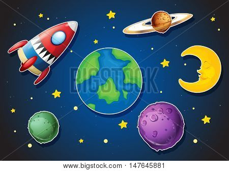 Spaceship and different planets in galaxy illustration