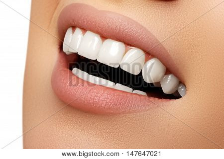 Beautiful Smile Of Young Fresh Woman With Great Healthy White Te