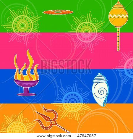 Vector design of India festival Happy Durga Puja background
