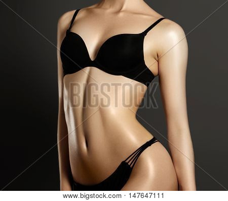 Beautiful Woman Show Her Tan Slim Body. Beautiful Slim Woman Bod