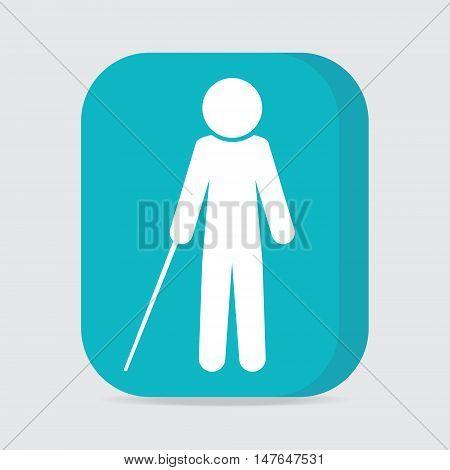 Blind man with stick symbol on button illustration