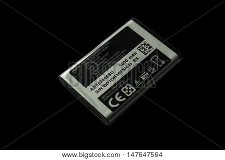 Kazakhstan, Ust - Kamenogorsk, june 8, 2016:  The battery of the phone Samsung. Accumulator, phone accumulator, phone battery, mobile battery, mobile phone battery, li ion battery, mobile phone, battery isolated, smartphone battery, isolated on black