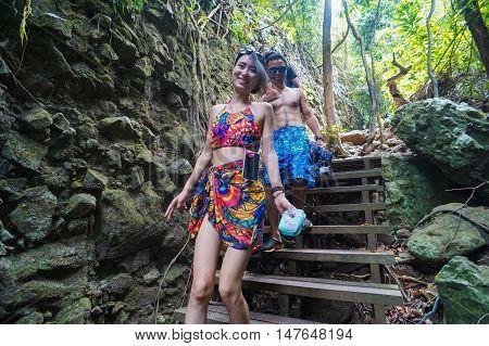 Semporna,Sabah-Sep 10,2016:Group of tourist on hiking trail,trekking in Bohey Dulang,Tun Sakaran Marine Park,Semporna,Sabah,Borneo.It is the most popular island for hiking & climbing activities.