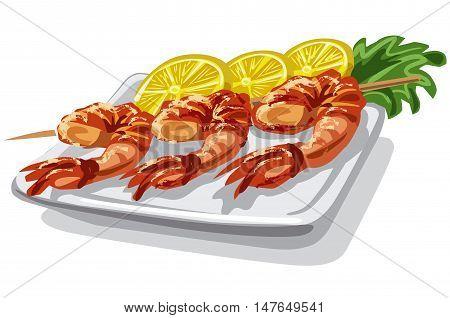 illustration of grilled shrimps on skewer with lemon and lettuce