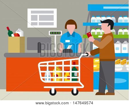 illustration of supermarket and shopping with products