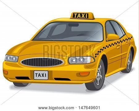 illustration of yellow taxi car auto sedan