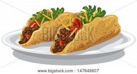 illustration of tacos with meat mince tomatoes and fried potatoes