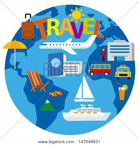 travel around the world concept flat illustration cruise and journey