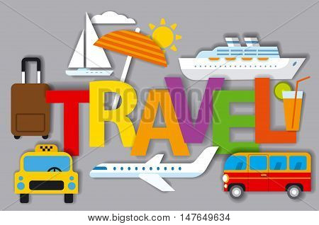 illustration of badges for travel concept and resort cruise and journey