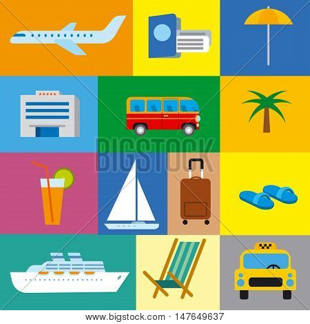 icons of tropical travel concept sea and ocean resort cruise and journey