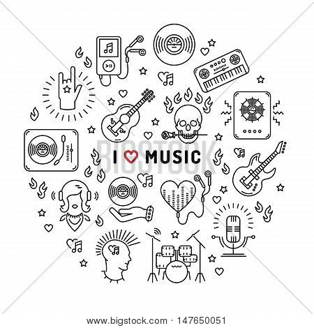 I love music - inspiring quote, line art icons, circle infographic. Isolated illustration for musical poster, cards, banners, flyers, brochures. Music studio moderm vector