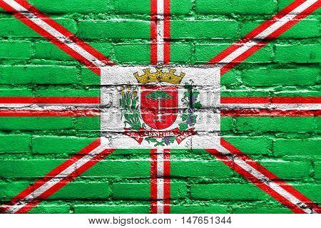 Flag Of Curitiba, Parana, Brazil, Painted On Brick Wall