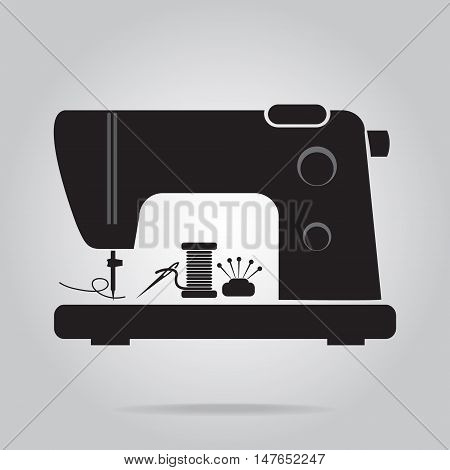 Sewing machine with needle and pin icon vector illustration
