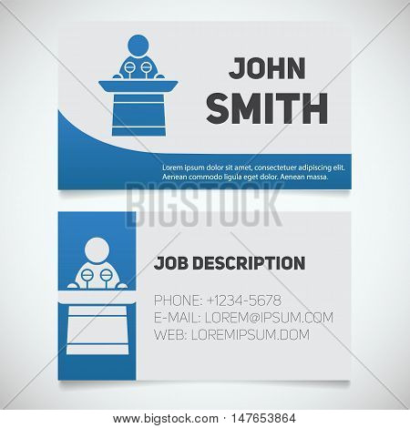 Business card print template with conference speaker logo. Easy edit. Orator. Stationery design concept. Vector illustration