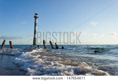 Skew lighthouse in the Baltic Sea. Kiipsaar Harilaid Saaremaa Estonia Europe.