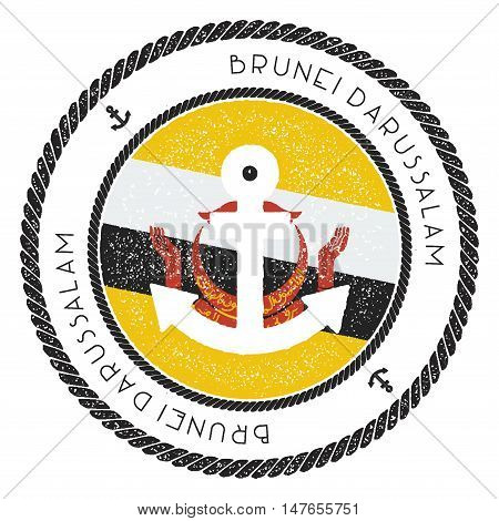 Nautical Travel Stamp With Brunei Darussalam Flag And Anchor. Marine Rubber Stamp, With Round Rope B