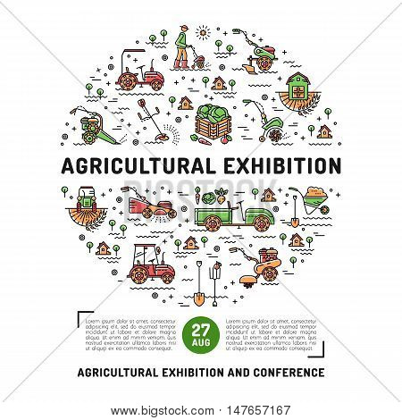 Agricultural Exhibition design card template, flyer or web banner. Vector agriculture and gardening circle colorful infographics concept, Farming line art icons, Garden tiller and farm machines