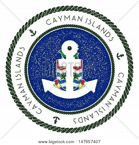 Nautical Travel Stamp With Cayman Islands Flag And Anchor. Marine Rubber Stamp, With Round Rope Bord