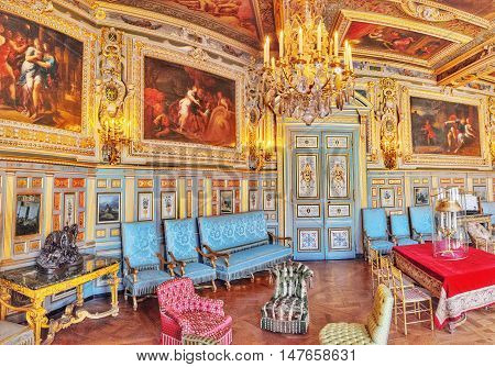 Fontainebleau, France - July 09, 2016 : Fontainebleau Palace Interiors. The Louis Xiii Salon. Chatea