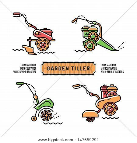 Set logos Garden Tiller on a white background, isolated icons in the thin line art style. Agriculture machines, motocultivator, walk-behind tractor, cultivator. Vector illustration