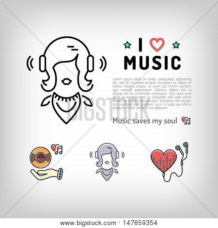 Music player isolated icon, girl listening music in headphones, the concept symbols of love for music. Set of vector logos in modern art thin line style, card template, poster or banner