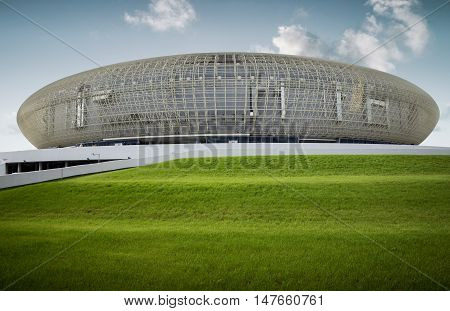 KRAKOW- AUGUST 16: Krakow Arena; on 16 August 2014. Krakow Arena is the biggest in Poland (for 22 800 spectators) and one of the most modern in the world hall entertainment and sports venue.
